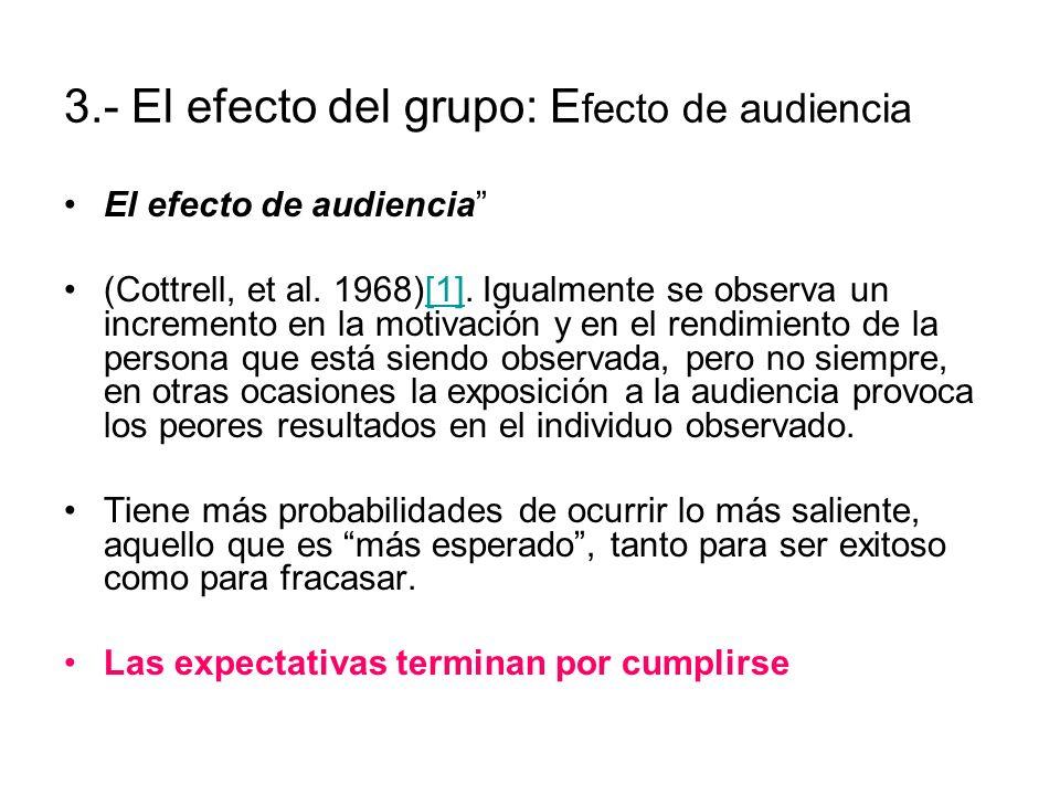 El efecto de audiencia (Cottrell, et al. 1968)[1]. Igualmente se observa un incremento en la motivación y en el rendimiento de la persona que está sie