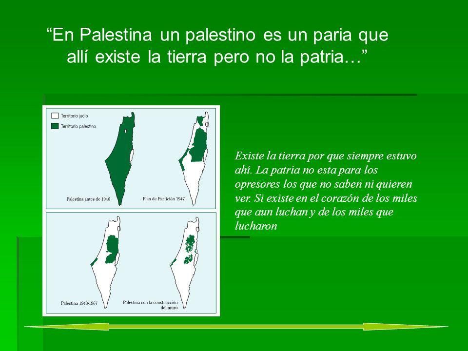 En Palestina un palestino es un paria que allí existe la tierra pero no la patria… Existe la tierra por que siempre estuvo ahí.