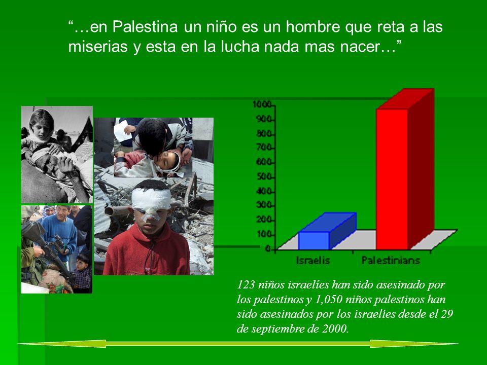 …en Palestina un niño es un hombre que reta a las miserias y esta en la lucha nada mas nacer… 123 niños israelíes han sido asesinado por los palestinos y 1,050 niños palestinos han sido asesinados por los israelíes desde el 29 de septiembre de 2000.