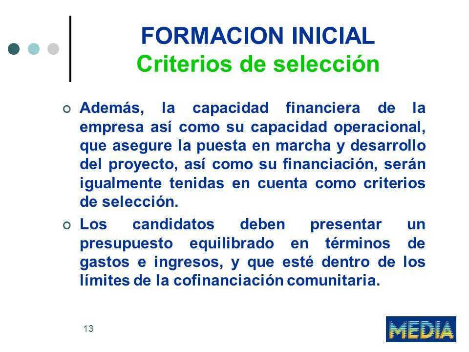 13 FORMACION INICIAL Criterios de selección Además, la capacidad financiera de la empresa así como su capacidad operacional, que asegure la puesta en marcha y desarrollo del proyecto, así como su financiación, serán igualmente tenidas en cuenta como criterios de selección.