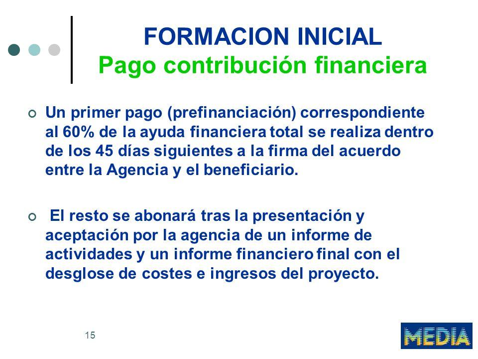 15 FORMACION INICIAL Pago contribución financiera Un primer pago (prefinanciación) correspondiente al 60% de la ayuda financiera total se realiza dentro de los 45 días siguientes a la firma del acuerdo entre la Agencia y el beneficiario.