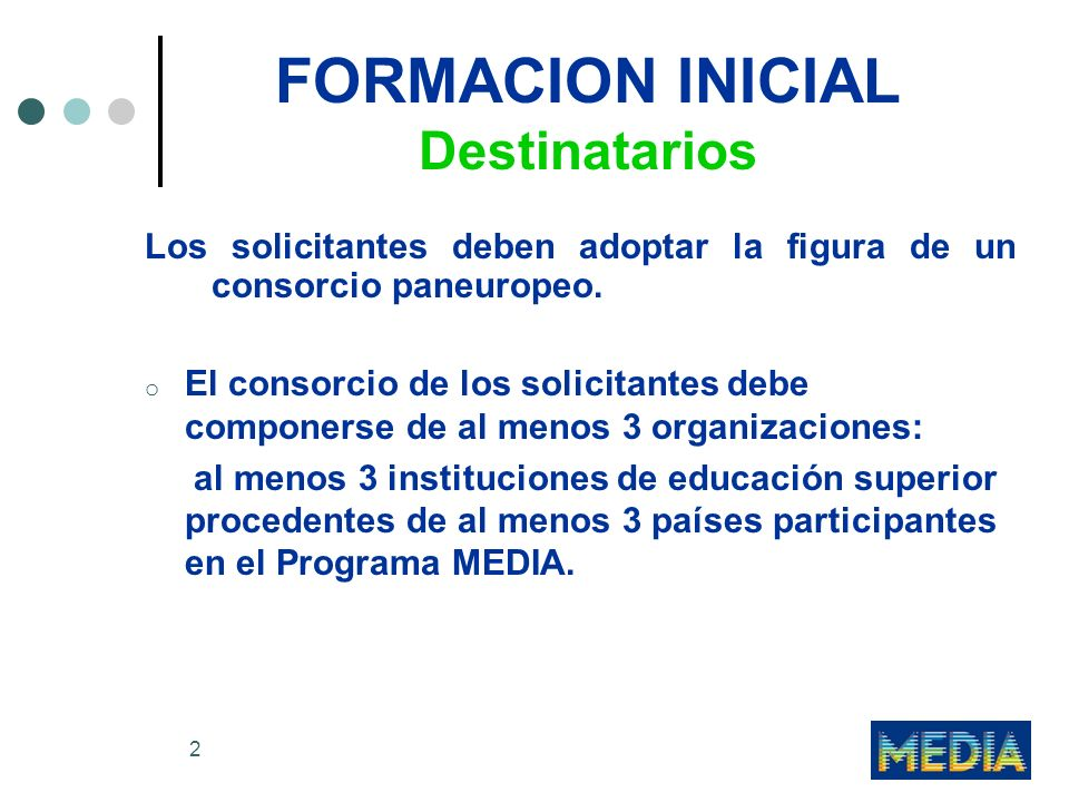2 FORMACION INICIAL Destinatarios Los solicitantes deben adoptar la figura de un consorcio paneuropeo.