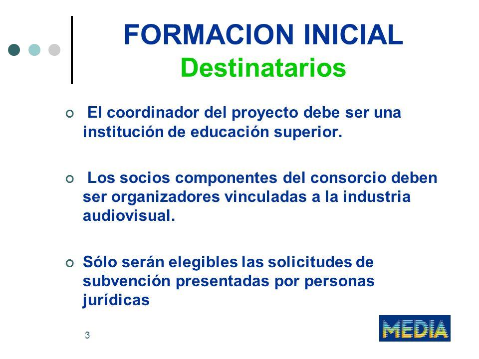 4 FORMACION INICIAL Destinatarios Se potenciarán las actividades de formación que fomenten la cooperación multidisciplinar dentro de la industria audiovisual.