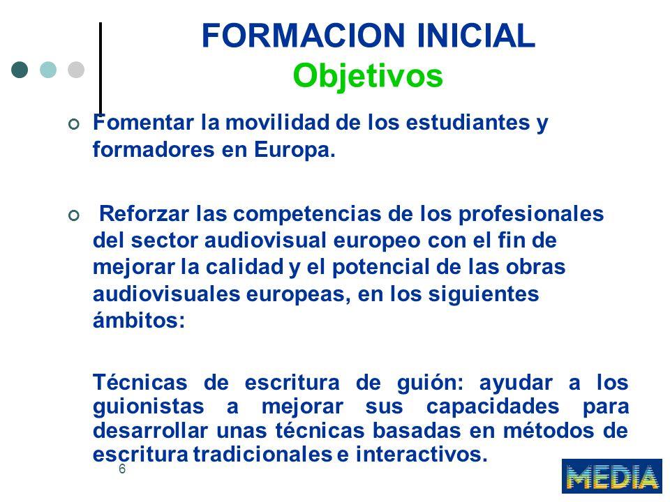 7 FORMACION INICIAL Objetivos Gestión económica, financiera y comercial: desarrollar la aptitud de los profesionales del sector audiovisual para comprender e integrar la dimensión europea en sus campos respectivos.