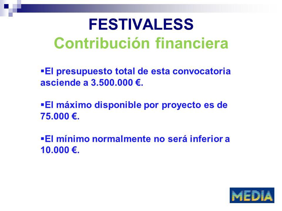 FESTIVALESS Contribución financiera El presupuesto total de esta convocatoria asciende a 3.500.000.