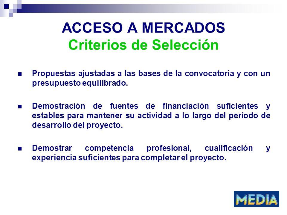 ACCESO A MERCADOS Criterios de Selección Propuestas ajustadas a las bases de la convocatoria y con un presupuesto equilibrado.