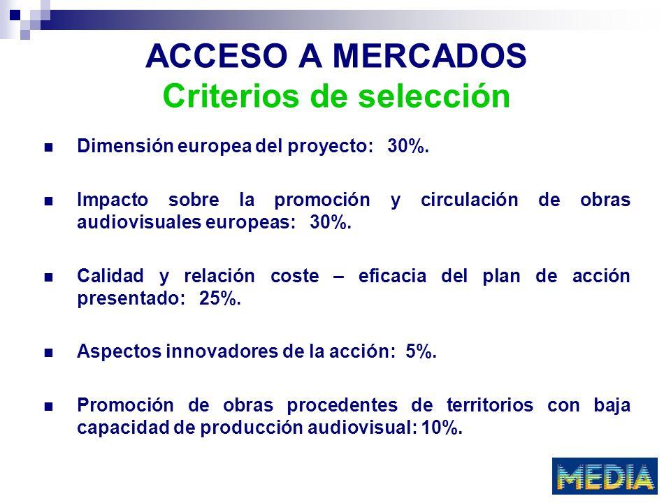 ACCESO A MERCADOS Criterios de selección Dimensión europea del proyecto: 30%.