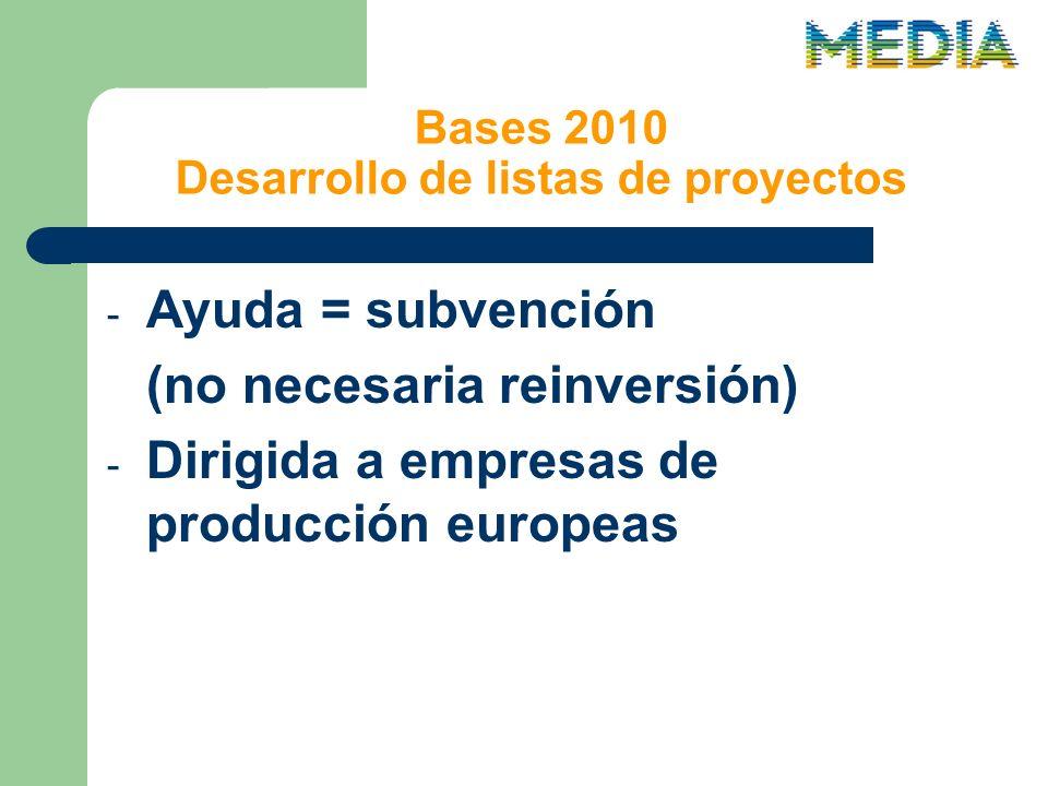 Bases 2010 Desarrollo de listas de proyectos - Ayuda = subvención (no necesaria reinversión) - Dirigida a empresas de producción europeas