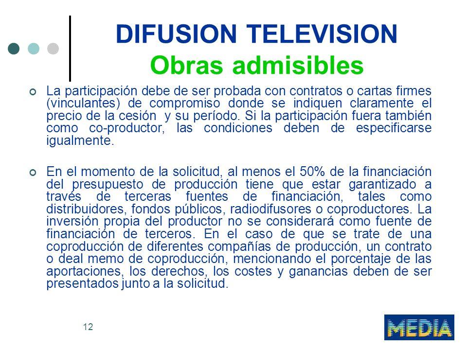 12 DIFUSION TELEVISION Obras admisibles La participación debe de ser probada con contratos o cartas firmes (vinculantes) de compromiso donde se indiqu