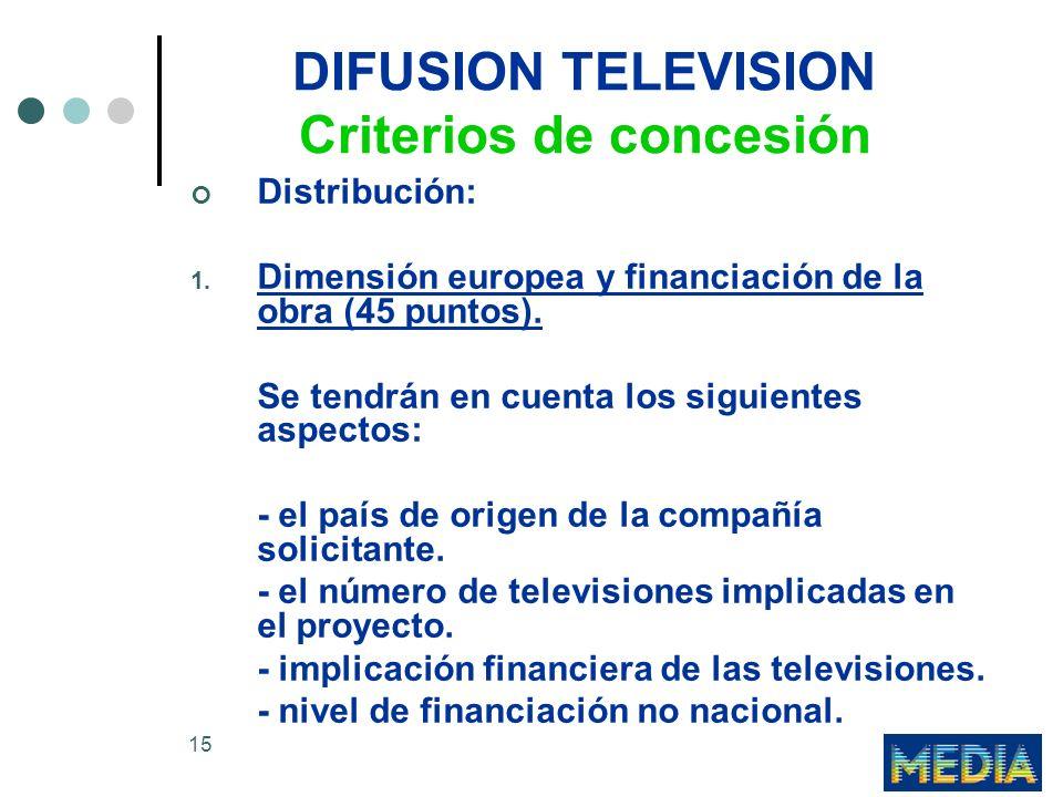 15 DIFUSION TELEVISION Criterios de concesión Distribución: 1. Dimensión europea y financiación de la obra (45 puntos). Se tendrán en cuenta los sigui