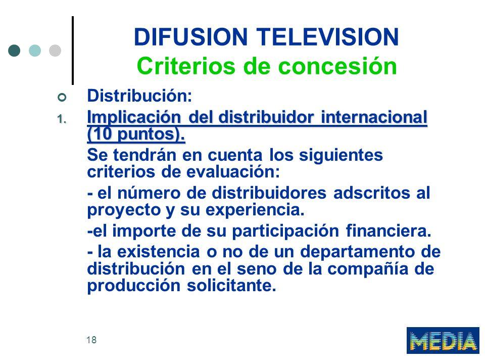 18 DIFUSION TELEVISION Criterios de concesión Distribución: 1. Implicación del distribuidor internacional (10 puntos). Se tendrán en cuenta los siguie
