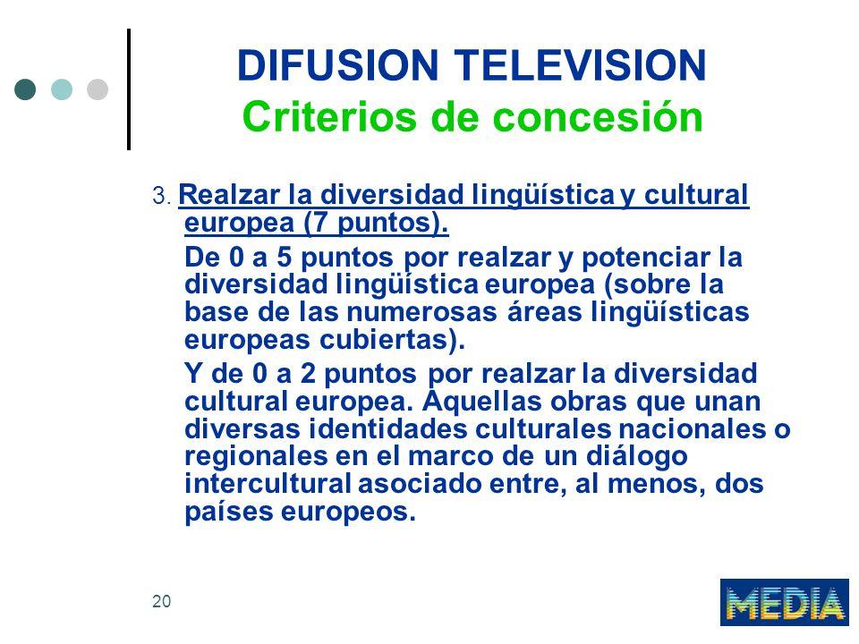 20 DIFUSION TELEVISION Criterios de concesión 3. Realzar la diversidad lingüística y cultural europea (7 puntos). De 0 a 5 puntos por realzar y potenc