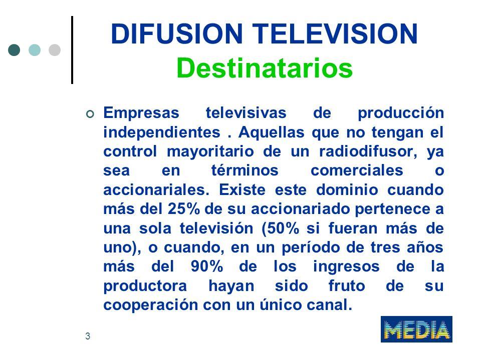 3 DIFUSION TELEVISION Destinatarios Empresas televisivas de producción independientes. Aquellas que no tengan el control mayoritario de un radiodifuso