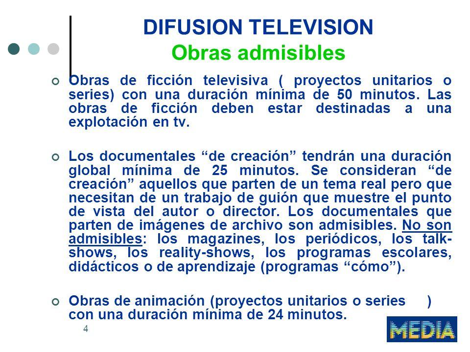 4 DIFUSION TELEVISION Obras admisibles Obras de ficción televisiva ( proyectos unitarios o series) con una duración mínima de 50 minutos. Las obras de