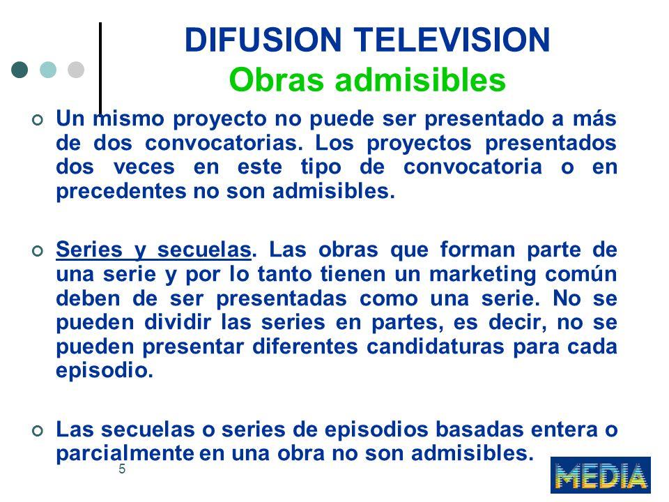 16 DIFUSION TELEVISION Criterios de concesión Los puntos se concederán de acuerdo al siguiente cuadro: Mínimos requisitos sobre pre-ventas (3 TT.VV) 0-5 puntos5-10 puntos10-15 puntos Mínimos requisitos, más (+) de uno a cuatro TT.
