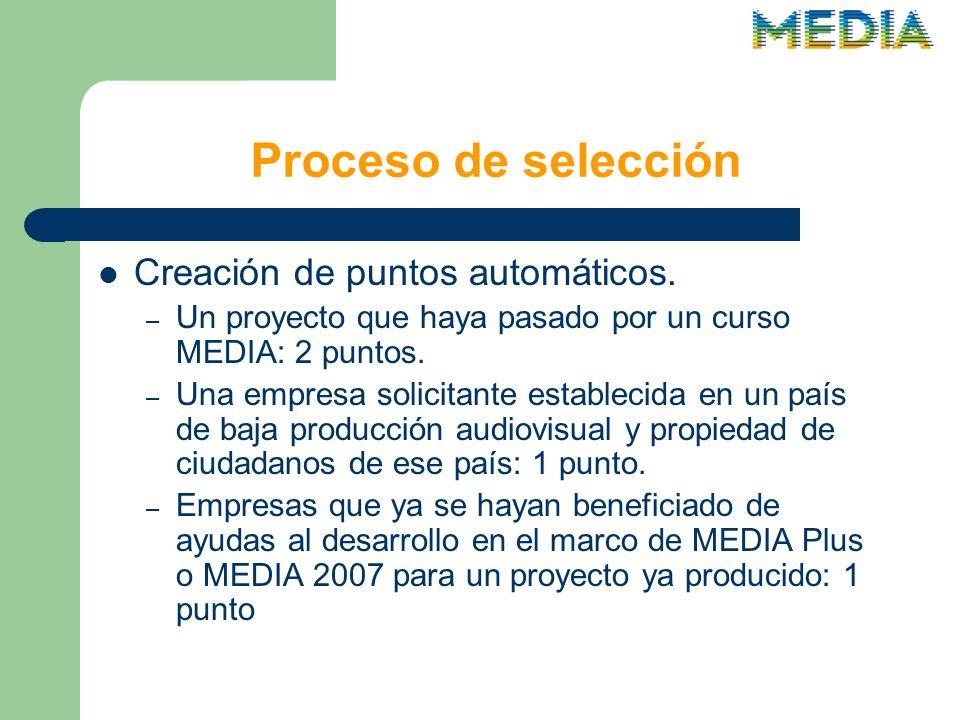 Proceso de selección Creación de puntos automáticos.
