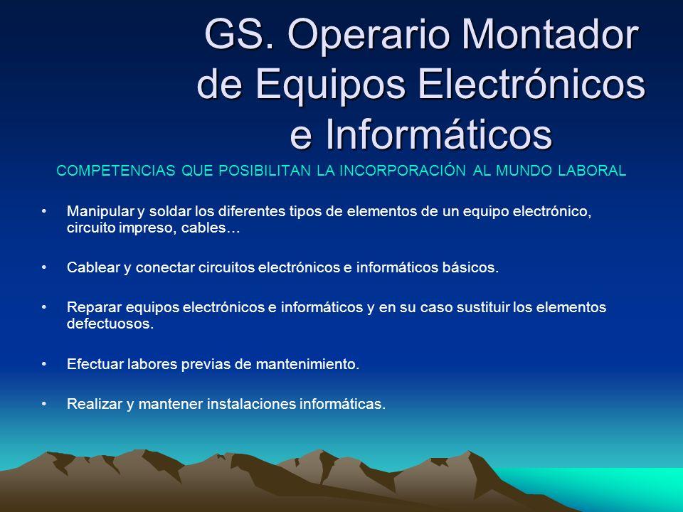 GS. Operario Montador de Equipos Electrónicos e Informáticos COMPETENCIAS QUE POSIBILITAN LA INCORPORACIÓN AL MUNDO LABORAL Manipular y soldar los dif