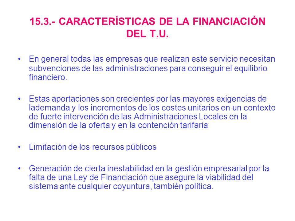 15.3.- CARACTERÍSTICAS DE LA FINANCIACIÓN DEL T.U. En general todas las empresas que realizan este servicio necesitan subvenciones de las administraci