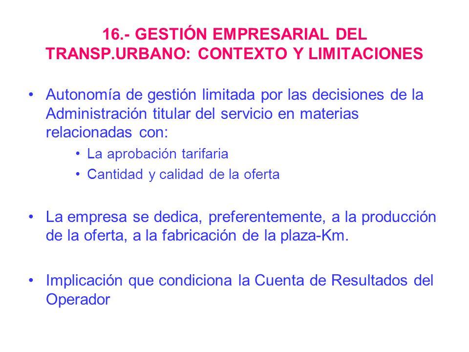 16.- GESTIÓN EMPRESARIAL DEL TRANSP.URBANO: CONTEXTO Y LIMITACIONES Autonomía de gestión limitada por las decisiones de la Administración titular del