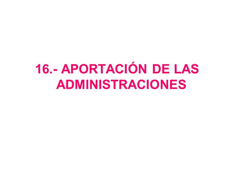 16.- APORTACIÓN DE LAS ADMINISTRACIONES