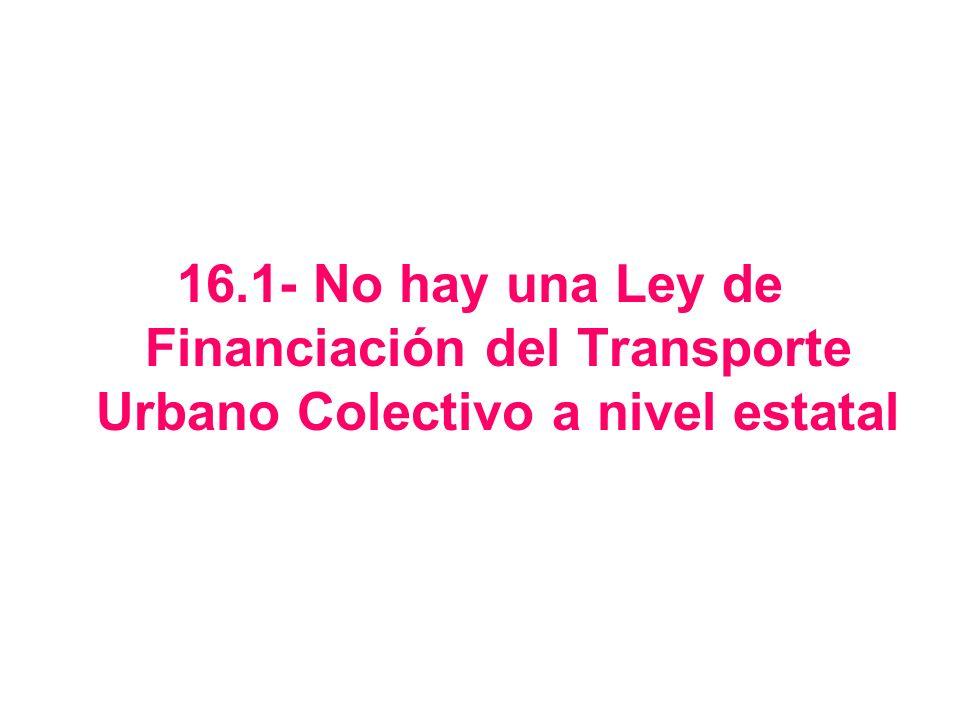 16.1- No hay una Ley de Financiación del Transporte Urbano Colectivo a nivel estatal