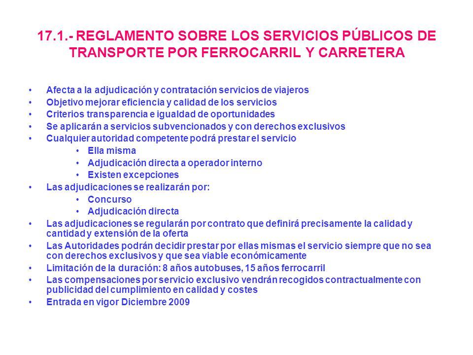 17.1.- REGLAMENTO SOBRE LOS SERVICIOS PÚBLICOS DE TRANSPORTE POR FERROCARRIL Y CARRETERA Afecta a la adjudicación y contratación servicios de viajeros