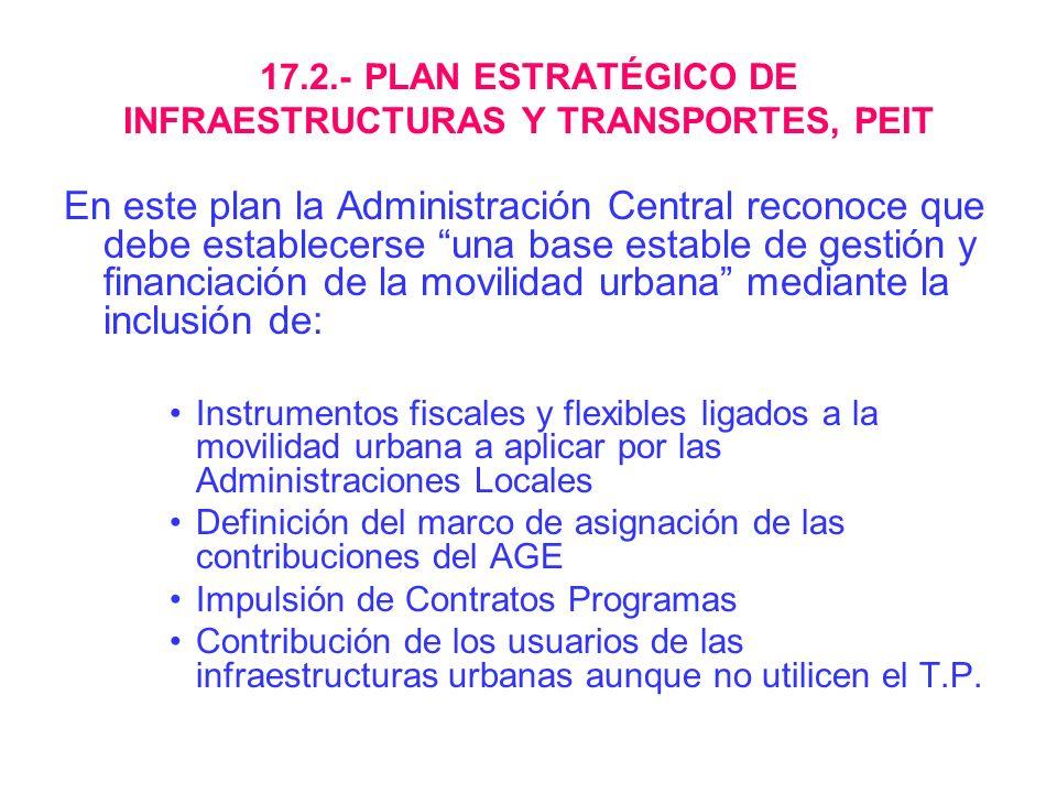 17.2.- PLAN ESTRATÉGICO DE INFRAESTRUCTURAS Y TRANSPORTES, PEIT En este plan la Administración Central reconoce que debe establecerse una base estable