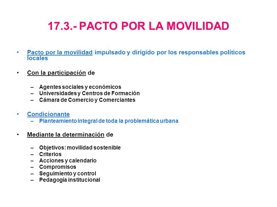 17.3.- PACTO POR LA MOVILIDAD Pacto por la movilidad impulsado y dirigido por los responsables políticos locales Con la participación de –Agentes soci