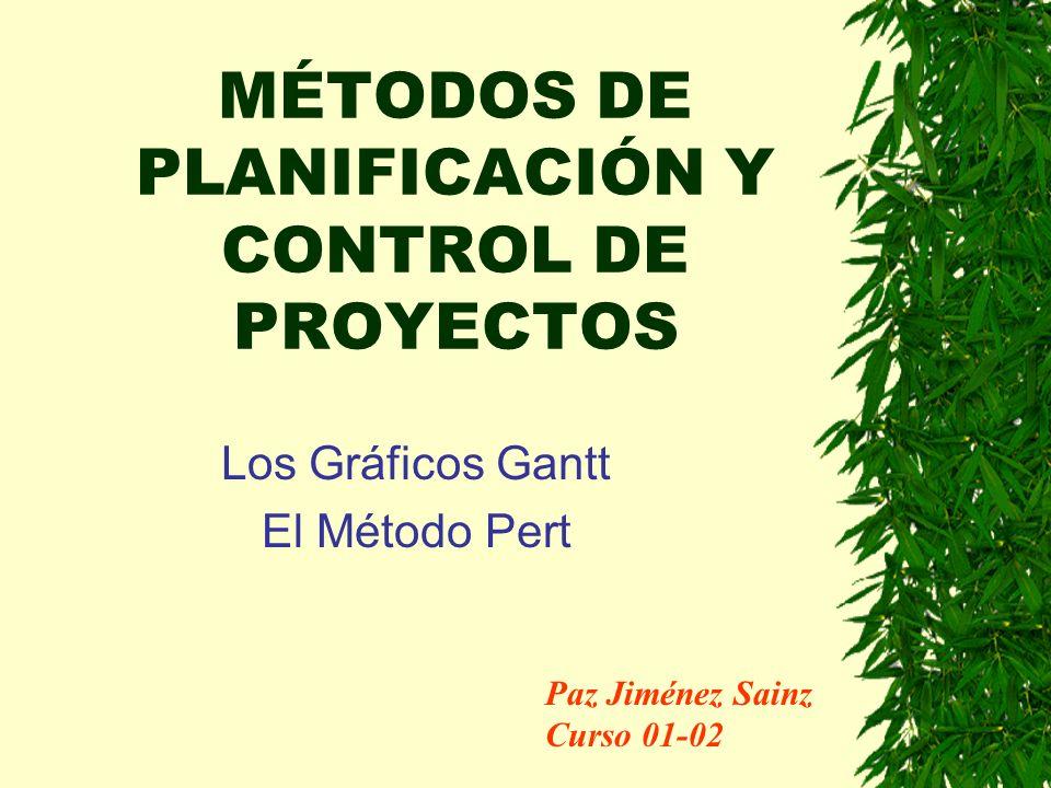 MÉTODOS DE PLANIFICACIÓN Y CONTROL DE PROYECTOS Los Gráficos Gantt El Método Pert Paz Jiménez Sainz Curso 01-02