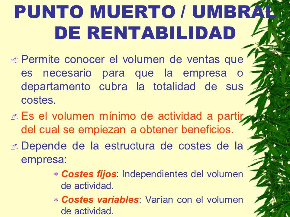 PUNTO MUERTO / UMBRAL DE RENTABILIDAD Permite conocer el volumen de ventas que es necesario para que la empresa o departamento cubra la totalidad de s