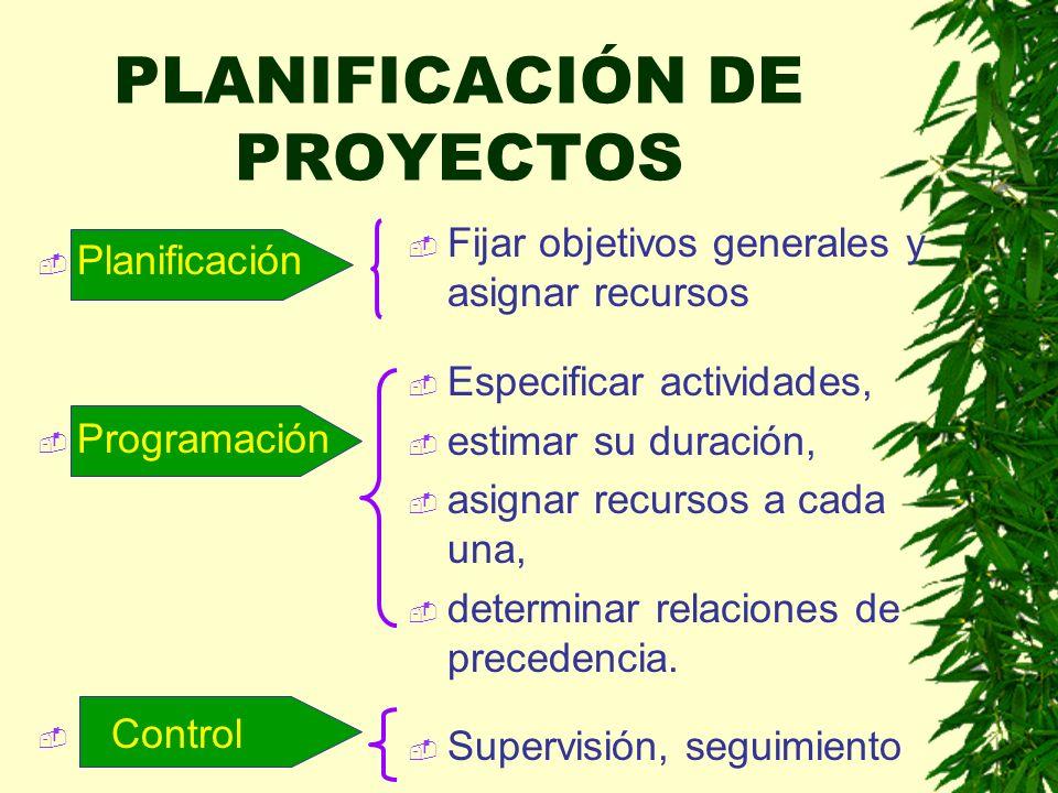 Planificación Programación Control Fijar objetivos generales y asignar recursos Especificar actividades, estimar su duración, asignar recursos a cada