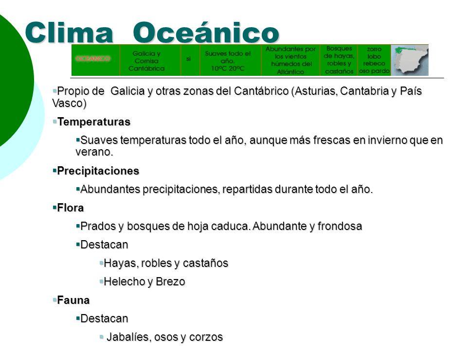 Clima Oceánico Propio de Galicia y otras zonas del Cantábrico (Asturias, Cantabria y País Vasco) Propio de Galicia y otras zonas del Cantábrico (Astur