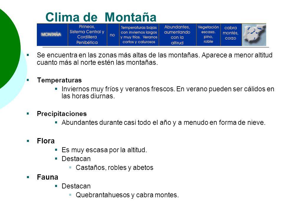 Clima de Montaña Se encuentra en las zonas más altas de las montañas. Aparece a menor altitud cuanto más al norte estén las montañas. Temperaturas Inv