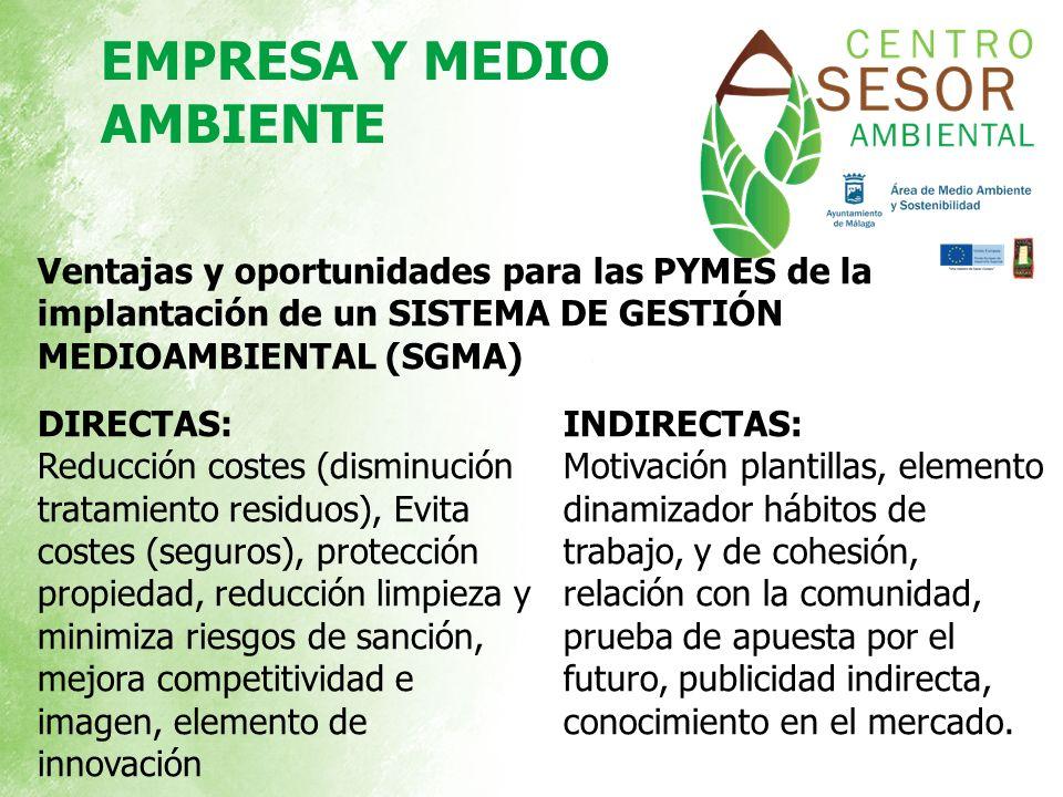 Ventajas y oportunidades para las PYMES de la implantación de un SISTEMA DE GESTIÓN MEDIOAMBIENTAL (SGMA) DIRECTAS: Reducción costes (disminución trat