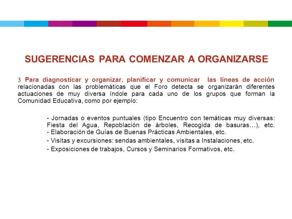 SUGERENCIAS PARA COMENZAR A ORGANIZARSE 3 Para diagnosticar y organizar, planificar y comunicar las líneas de acción relacionadas con las problemática