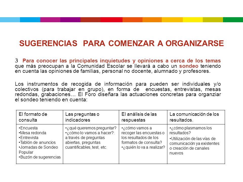 SUGERENCIAS PARA COMENZAR A ORGANIZARSE 3 Para conocer las principales inquietudes y opiniones a cerca de los temas que más preocupan a la Comunidad E