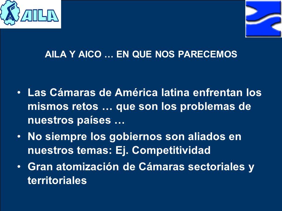 AILA Y AICO … EN QUE NOS PARECEMOS Las Cámaras de América latina enfrentan los mismos retos … que son los problemas de nuestros países … No siempre lo