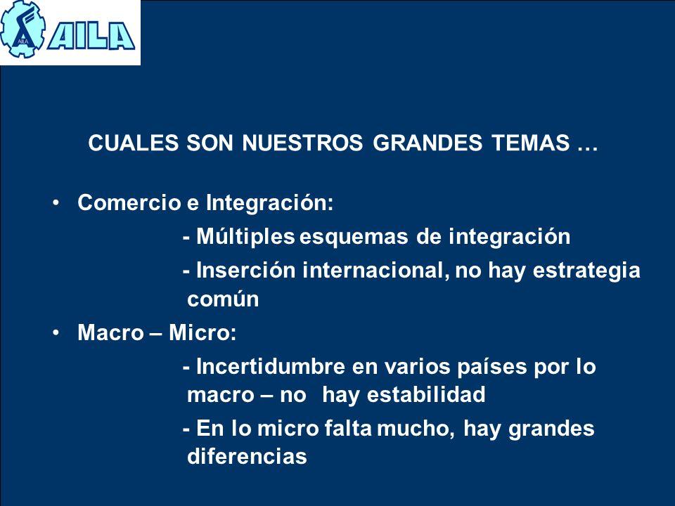 CUALES SON NUESTROS GRANDES TEMAS … Comercio e Integración: - Múltiples esquemas de integración - Inserción internacional, no hay estrategia común Mac