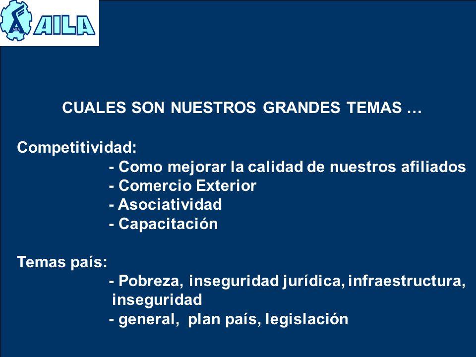 Competitividad: - Como mejorar la calidad de nuestros afiliados - Comercio Exterior - Asociatividad - Capacitación Temas país: - Pobreza, inseguridad