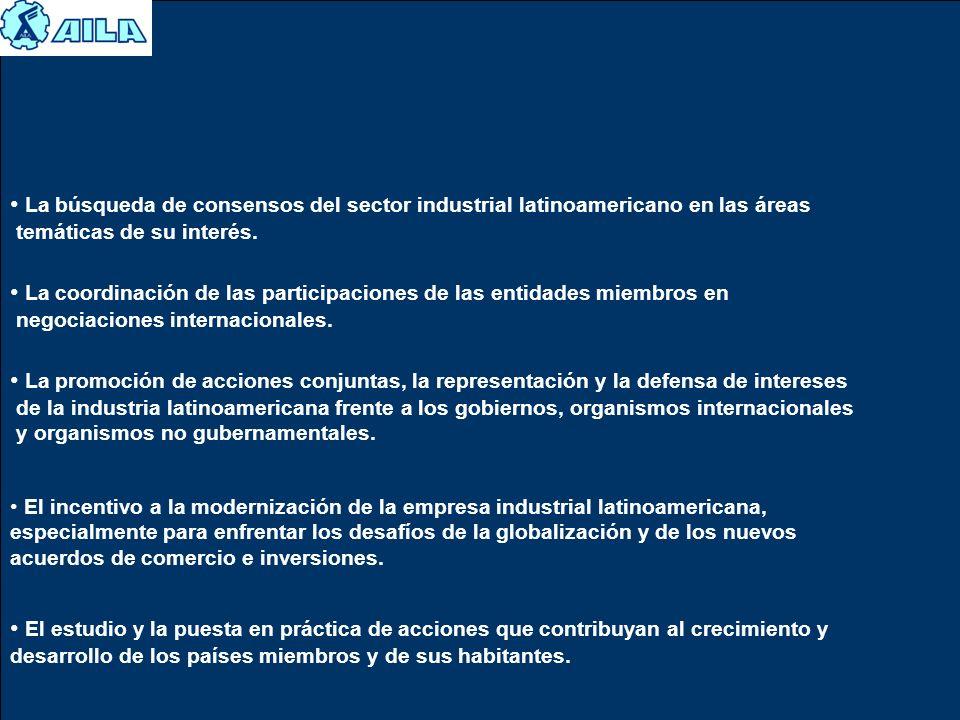 La búsqueda de consensos del sector industrial latinoamericano en las áreas temáticas de su interés. La coordinación de las participaciones de las ent