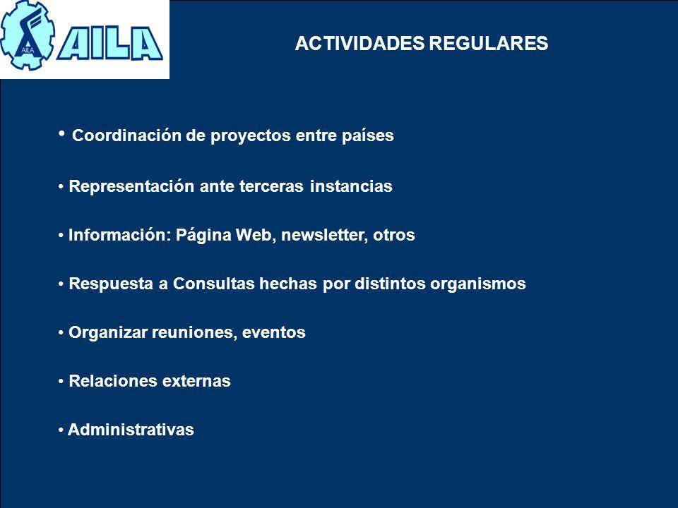 ACTIVIDADES REGULARES Coordinación de proyectos entre países Representación ante terceras instancias Información: Página Web, newsletter, otros Respue