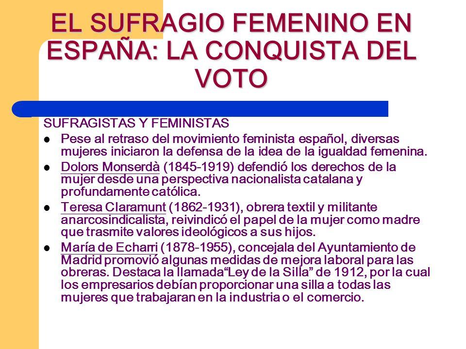 SUFRAGISTAS Y FEMINISTAS Pese al retraso del movimiento feminista español, diversas mujeres iniciaron la defensa de la idea de la igualdad femenina. D