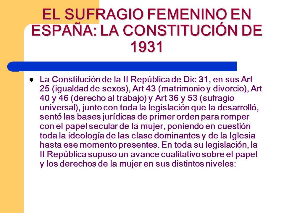 EL SUFRAGIO FEMENINO EN ESPAÑA: LA CONSTITUCIÓN DE 1931 La Constitución de la II República de Dic 31, en sus Art 25 (igualdad de sexos), Art 43 (matrimonio y divorcio), Art 40 y 46 (derecho al trabajo) y Art 36 y 53 (sufragio universal), junto con toda la legislación que la desarrolló, sentó las bases jurídicas de primer orden para romper con el papel secular de la mujer, poniendo en cuestión toda la ideología de las clase dominantes y de la Iglesia hasta ese momento presentes.
