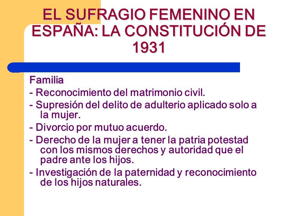 EL SUFRAGIO FEMENINO EN ESPAÑA: LA CONSTITUCIÓN DE 1931 Familia - Reconocimiento del matrimonio civil. - Supresión del delito de adulterio aplicado so