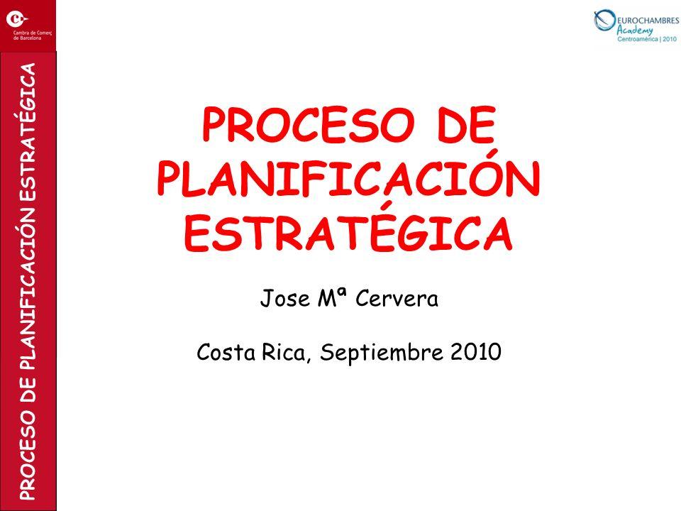 PROCESO DE PLANIFICACIÓN ESTRATÉGICA PROCESO DE PLANIFICACIÓN ESTRATÉGICA Jose Mª Cervera Costa Rica, Septiembre 2010