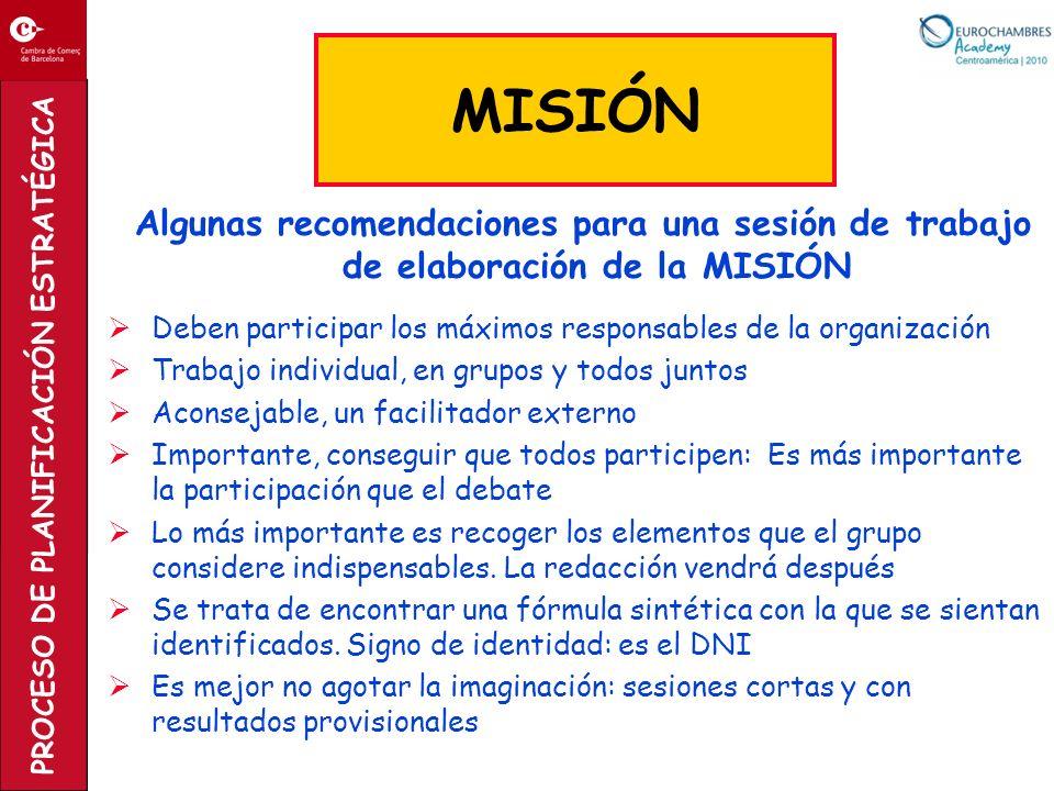 PROCESO DE PLANIFICACIÓN ESTRATÉGICA Algunas recomendaciones para una sesión de trabajo de elaboración de la MISIÓN Deben participar los máximos respo