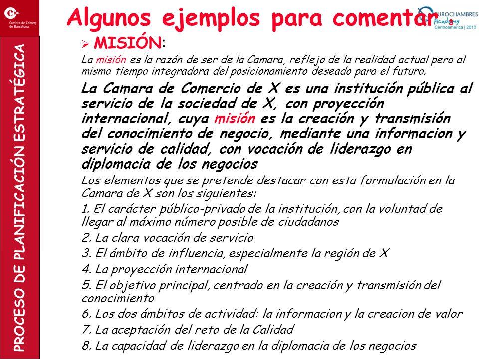 PROCESO DE PLANIFICACIÓN ESTRATÉGICA Algunos ejemplos para comentar 3 MISIÓN: La misión es la razón de ser de la Camara, reflejo de la realidad actual