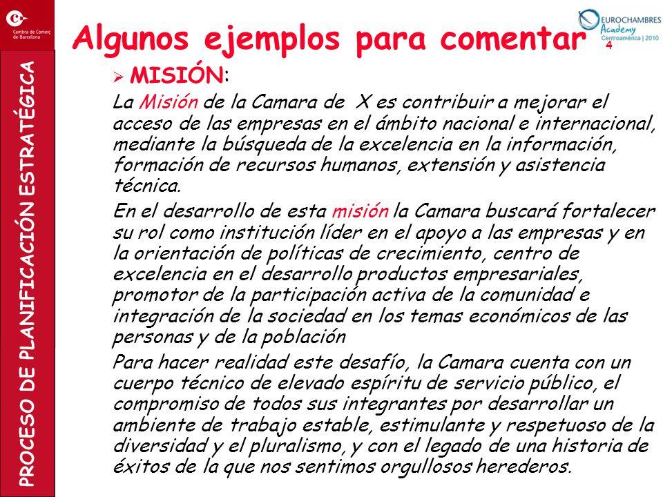 PROCESO DE PLANIFICACIÓN ESTRATÉGICA Algunos ejemplos para comentar 4 MISIÓN: La Misión de la Camara de X es contribuir a mejorar el acceso de las emp