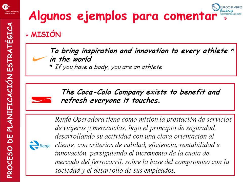 PROCESO DE PLANIFICACIÓN ESTRATÉGICA Algunos ejemplos para comentar 5 MISIÓN: To bring inspiration and innovation to every athlete * in the world * If