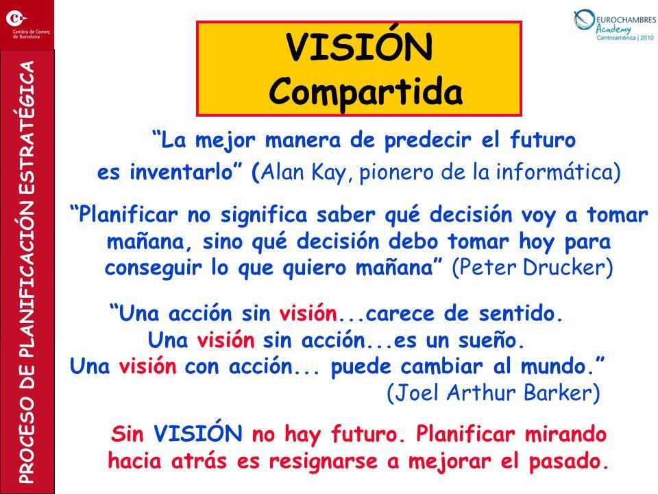 PROCESO DE PLANIFICACIÓN ESTRATÉGICA La mejor manera de predecir el futuro es inventarlo (Alan Kay, pionero de la informática) VISIÓN Compartida Plani